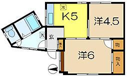 岡出アパート[1階]の間取り