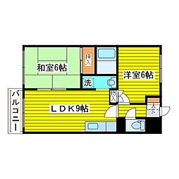 札幌市営東豊線 新道東駅 徒歩13分の賃貸マンション 4階2DKの間取り