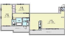 北大阪急行電鉄 桃山台駅 徒歩17分の賃貸マンション 7階2LDKの間取り