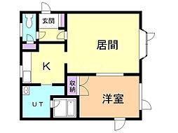 スクエアIII 2階1LDKの間取り