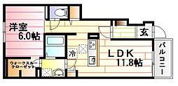 バス 大上下車 徒歩3分の賃貸アパート 1階1LDKの間取り