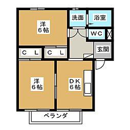 ピュアハーツ239[1階]の間取り