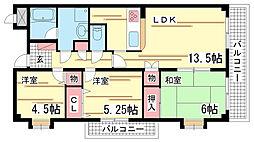兵庫県神戸市須磨区磯馴町1丁目の賃貸マンションの間取り