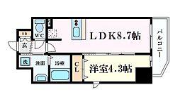 プレサンス難波クチュール 14階1LDKの間取り
