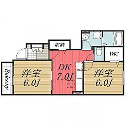 JR成田線 成田駅 バス14分 日吉倉入口下車 徒歩2分の賃貸アパート 1階2DKの間取り
