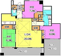 東京都練馬区石神井町8丁目の賃貸マンションの間取り