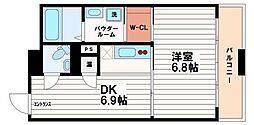 大阪府大阪市中央区瓦町3丁目の賃貸マンションの間取り