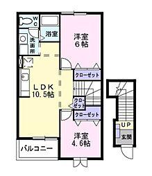 神奈川県藤沢市菖蒲沢の賃貸アパートの間取り