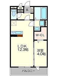 仮)南区久世中久世町5丁目 共同住宅 2階1LDKの間取り