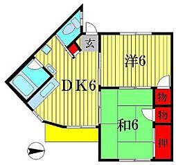 渡辺ハイツ[102号室]の間取り