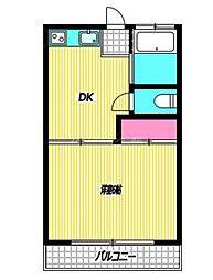 JR中央本線 武蔵小金井駅 徒歩20分の賃貸アパート 2階1DKの間取り