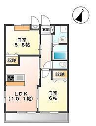 二俣川駅徒歩13分 エレガンスエイト105号室[1階]の間取り