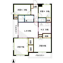 JR中央本線 三鷹駅 徒歩15分の賃貸マンション 1階4LDKの間取り