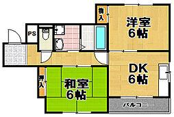 かどマンション[2階]の間取り
