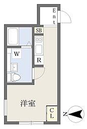 東急田園都市線 三軒茶屋駅 徒歩8分の賃貸マンション 3階ワンルームの間取り