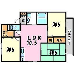 兵庫県尼崎市武庫元町1丁目の賃貸アパートの間取り