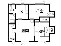 第二マルミヤマンション 1階2LDKの間取り