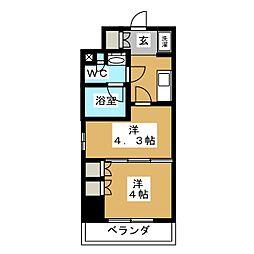 パークアクシス横濱大通り公園 4階2Kの間取り