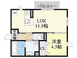 南海高野線 北野田駅 バス7分 福田中下車 徒歩13分の賃貸アパート 1階1LDKの間取り