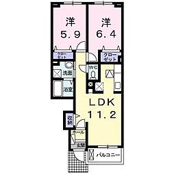 徳島県徳島市蔵本町3丁目の賃貸アパートの間取り