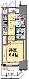阪急神戸本線 中津駅 徒歩3分の賃貸マンション 6階1Kの間取り