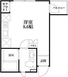 東京メトロ丸ノ内線 中野新橋駅 徒歩6分の賃貸アパート 1階ワンルームの間取り