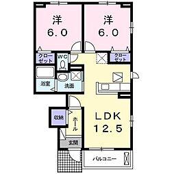 ロータス南島田B[105号室]の間取り