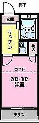 カーサ東中沢[202号室]の間取り