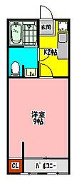 大和マンション(日吉町) 2階1Kの間取り