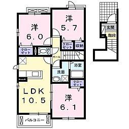 長野西アパートA[0206号室]の間取り