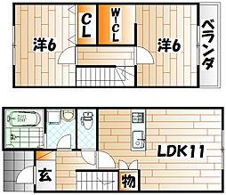 福岡県北九州市若松区下原町の賃貸アパートの間取り