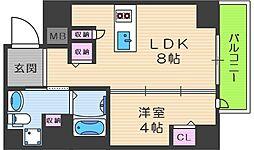 リンクハウス南堀江 5階1LDKの間取り