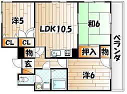 サンラビール小倉[10階]の間取り