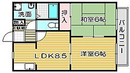 大阪府高槻市宮田町1丁目の賃貸アパートの間取り