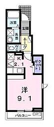 香川県坂出市久米町1丁目の賃貸アパートの間取り