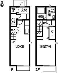 [テラスハウス] 愛知県稲沢市西町1丁目 の賃貸【/】の間取り