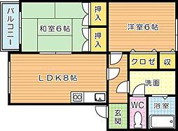 メゾン木屋瀬[1階]の間取り