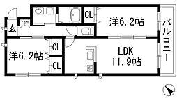 兵庫県宝塚市山本丸橋2丁目の賃貸マンションの間取り