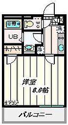 埼玉高速鉄道 南鳩ヶ谷駅 徒歩18分の賃貸マンション 3階1Kの間取り