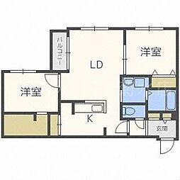 la clef 東札幌[4階]の間取り