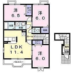 エスポワール1番館[2階]の間取り