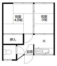 東京都小平市花小金井南町2丁目の賃貸アパートの間取り