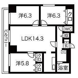 北海道札幌市中央区北4条西25丁目の賃貸マンションの間取り