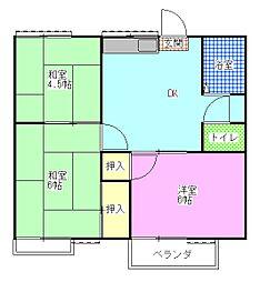 レピュート斉藤A[2階]の間取り