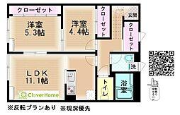 小田急小田原線 鶴川駅 バス15分 真光寺下車 徒歩3分の賃貸アパート 2階2LDKの間取り