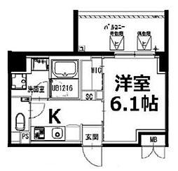 都営新宿線 曙橋駅 徒歩5分の賃貸マンション 2階1Kの間取り