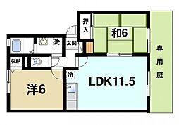 メゾン・ド・クレール 1階2LDKの間取り