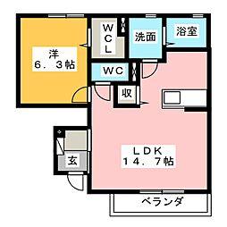 2CV駿河台 C[1階]の間取り