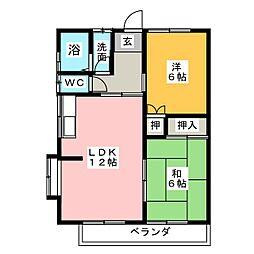 ルミエールA棟[1階]の間取り