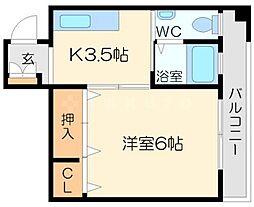 東峰レジデンス 2階1Kの間取り